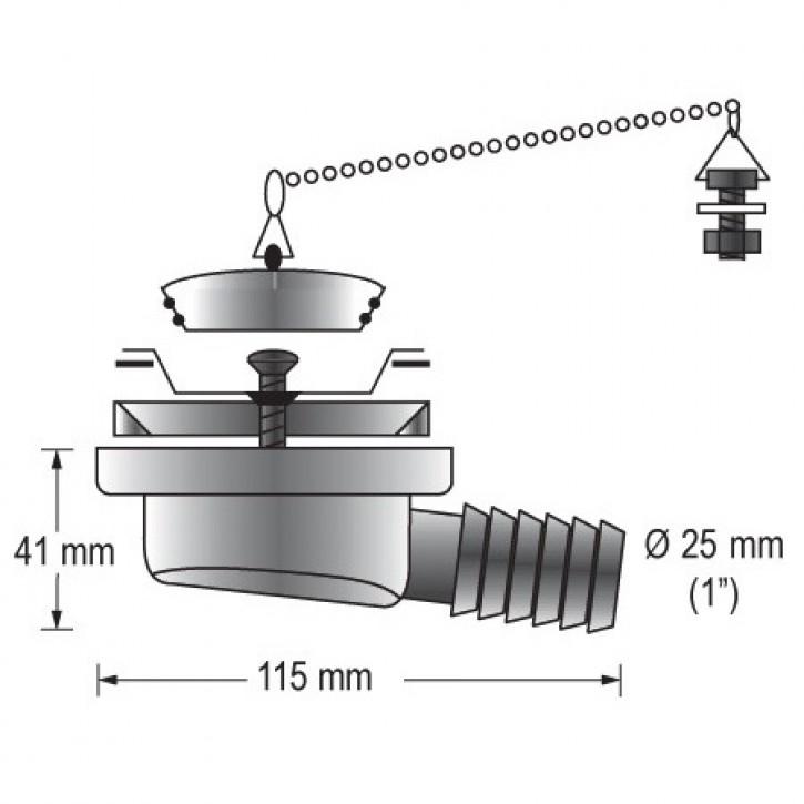 Waschbecken-Auslass für 25mm Ø