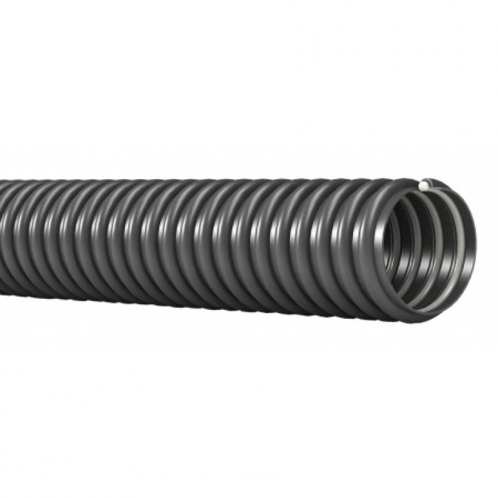 Ablaufschlauch grau mit Hart-PVC-Spirale Innen-Ø 25 mm pro mtr.
