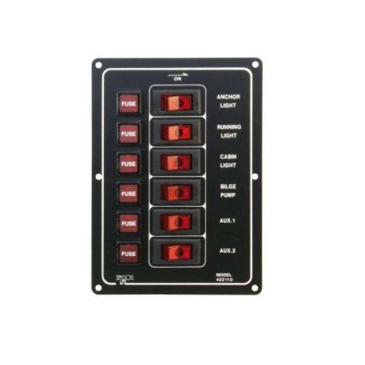Sicherungsautomat 6-fach, vertikal mit beleuchtetem Schaltern