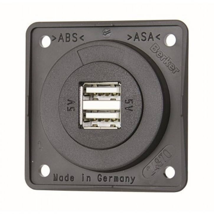 USB Einbau Doppel-Ladesteckdose.12 / 24 V.