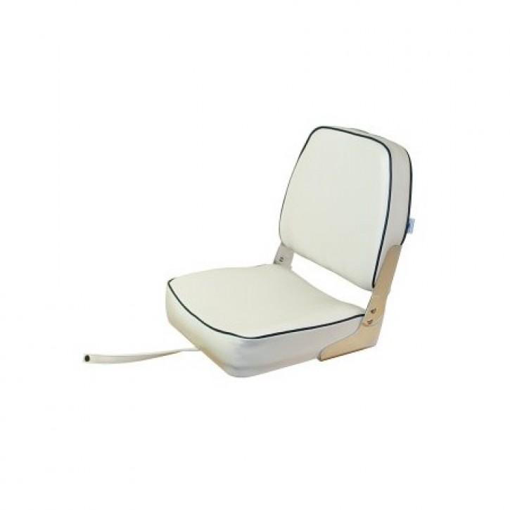 Bootssitz klappbar weiß mit blauer Kedernaht