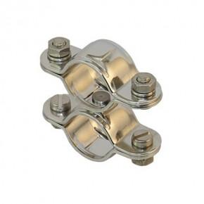 Edelstahl Doppelschelle mit Wirbel für Rohr 25 mm